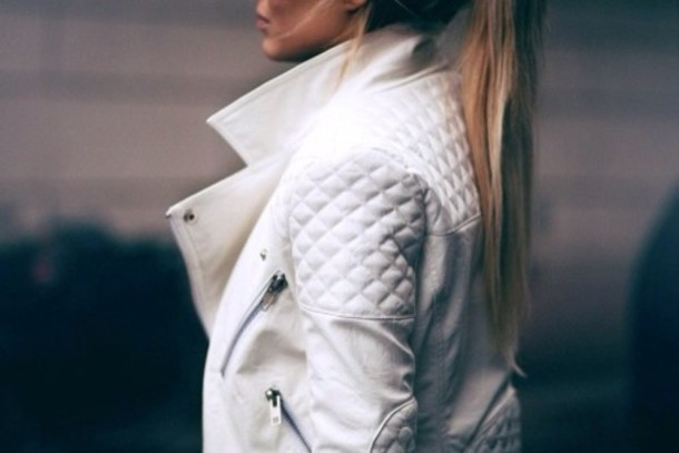 Jacket: white leather jacket, quilted, leather jacket, coat, blanc ... : white quilted leather jacket - Adamdwight.com