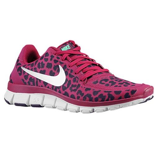 Nike Free 5.0 V4 - Women's - Running - Shoes - Raspberry Red/Green Glow/Purple Dynasty/Met Silver