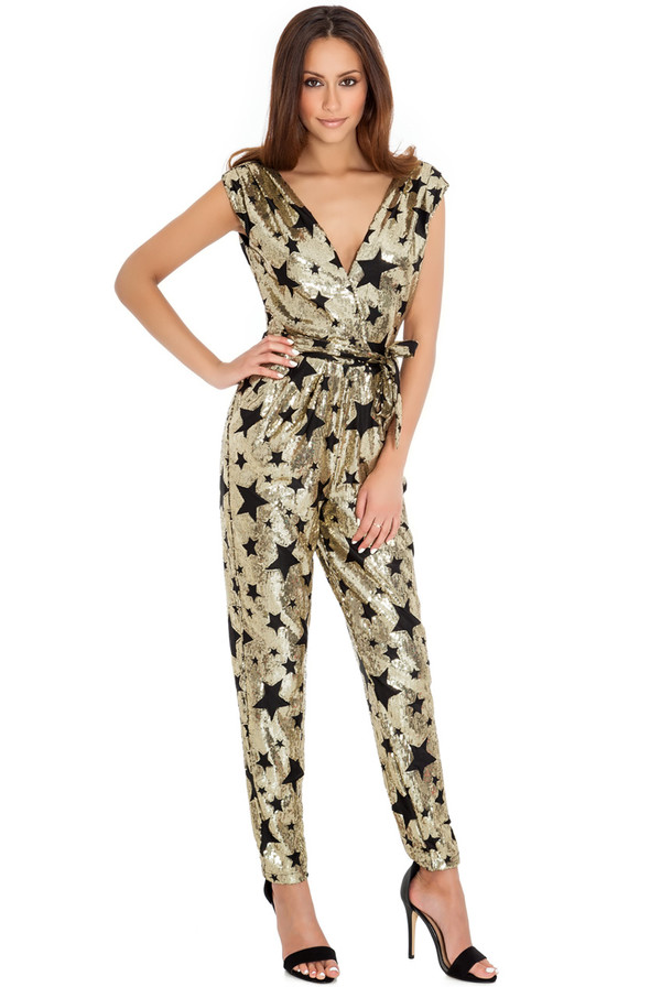 jumpsuit sequins stars cross over christmas party special occasion