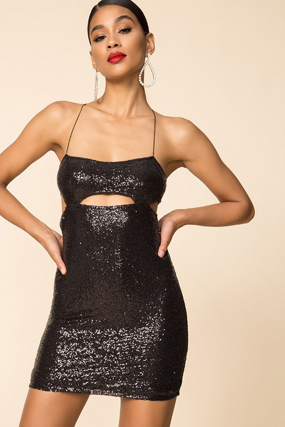 x Draya Michele Ivy Sequin Cut Out Dress