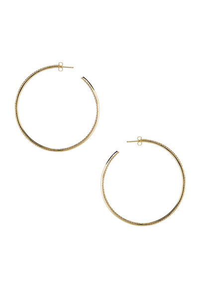 joolz by Martha Calvo Thin Pave Hoop Earrings in gold / metallic