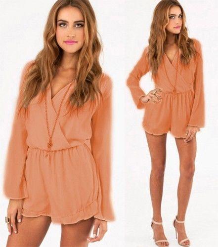 Blush Nude Chiffon Wrap Over Front Romper Long Sleeve Frilled Shorts Elegant | eBay