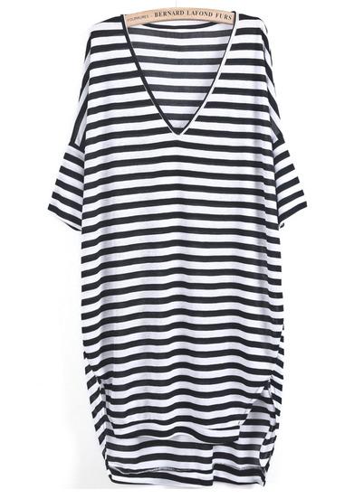 Black white striped v neck loose dress
