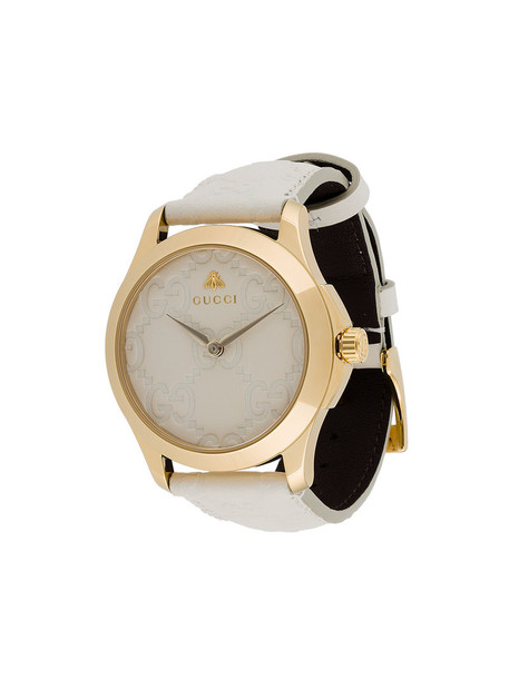 Gucci - G-timeless watch - women - Leather/stainless steel - One Size, White