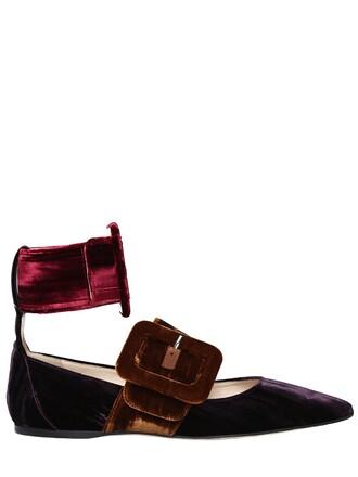 flats velvet purple shoes
