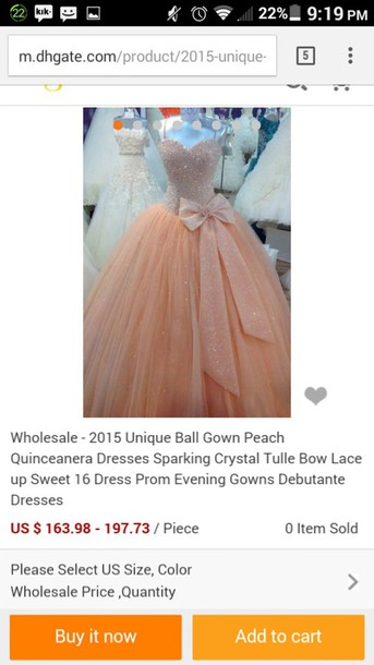 dress peach ball gown dress
