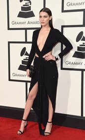 dress,cut-out dress,gown,black dress,slit dress,plunge dress,bella hadid,red carpet dress,grammys 2016,sandals,shoes