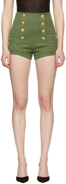 Pierre Balmain Khaki Wool Button Shorts
