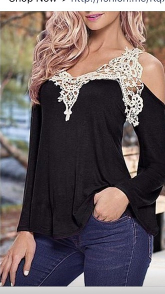 top v neck lace black women casual blouse loose black and white