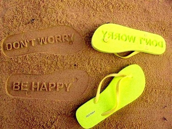 shoes flip-flops sea beach sand green yellow sandals dont worry be happy neon yellow neon little black dress don't worry text