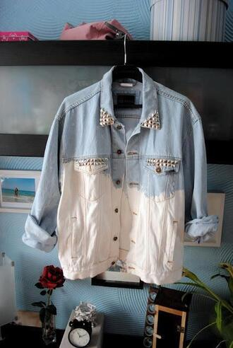 jacket summer outfit fashion jeans studs perfect studded denim jacket dyed dip dyed