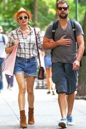 shirt,diane kruger,ankle boots,sunglasses,hat,denim shorts,shorts
