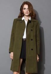 chicwish,minimalist,elegance,wool-blend coat,army green