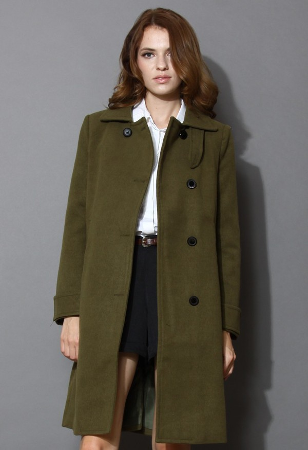 chicwish minimalist elegance wool-blend coat army green