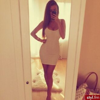 white dress long hair blonde straight hair tanned skin tight dress sexy bodycon dress