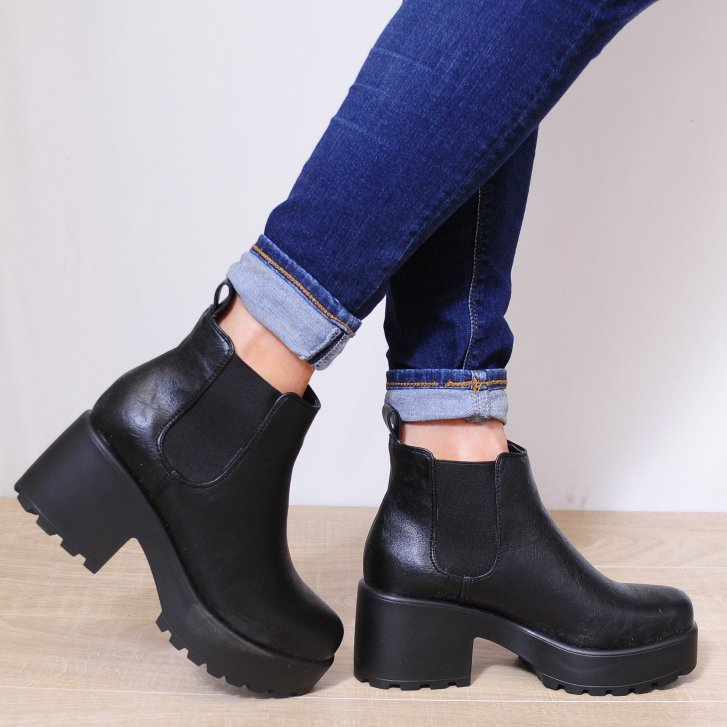 black faux PU leather pull on elastic chunky heel ankle boots