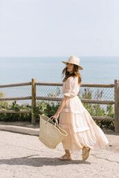 could i have that,blogger,dress,shoes,hat,basket bag,sandals,maxi dress