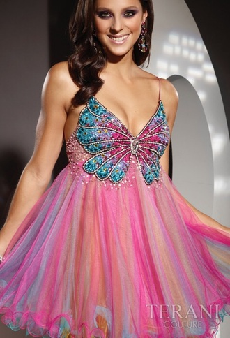 dress prom dress blue cute butterfly sexy short pink