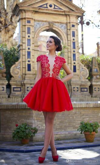 dress red lace dress red lace lace top dress red tulle dress cap sleeves dresses