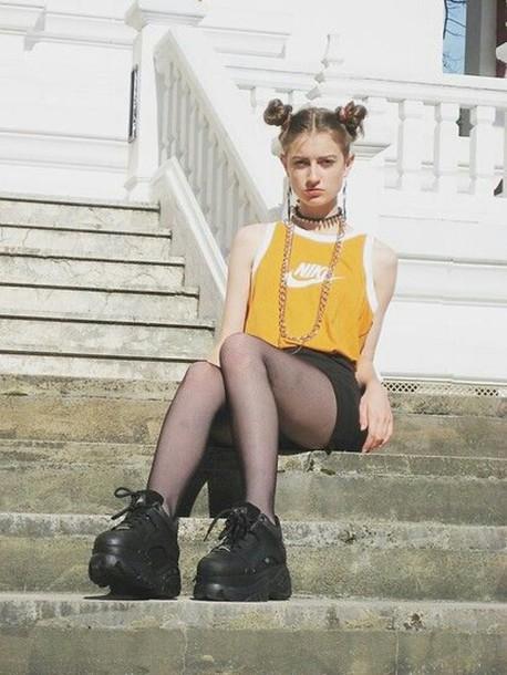 t-shirt nike orange yellow white letters