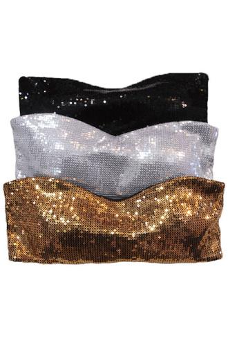 blouse trendyish bandeau tube crop sequins sparkle gold silver black