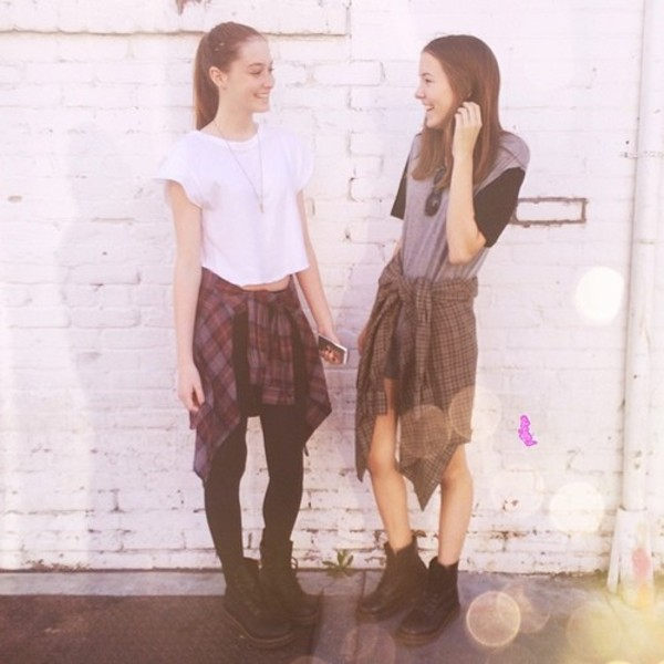 shirt flannel shirt leather faux leather leggings leather shirt twins bff crop tops boots hipster combat boots