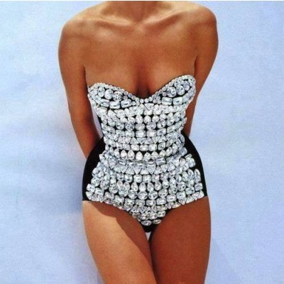 Buy Fashion Clothing -  Sparkling diamonds women's bikini suit top - Tops
