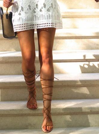 shoes flats lace lace up lace up sandals gladiators knee high gladiator sandals lace up gladiators lace up gladiator sandals tan brown strappy straps cute love hot pretty fashion boho bohemian sandals hippie hip summer