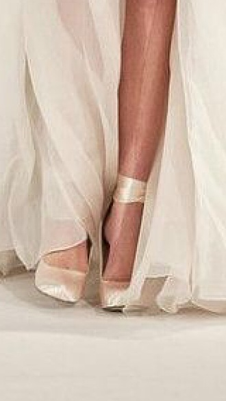 shoes ballerina heels pumps nude ribbon lace up