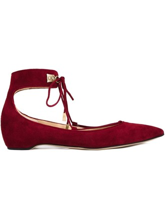 ankle strap women suede red shoes
