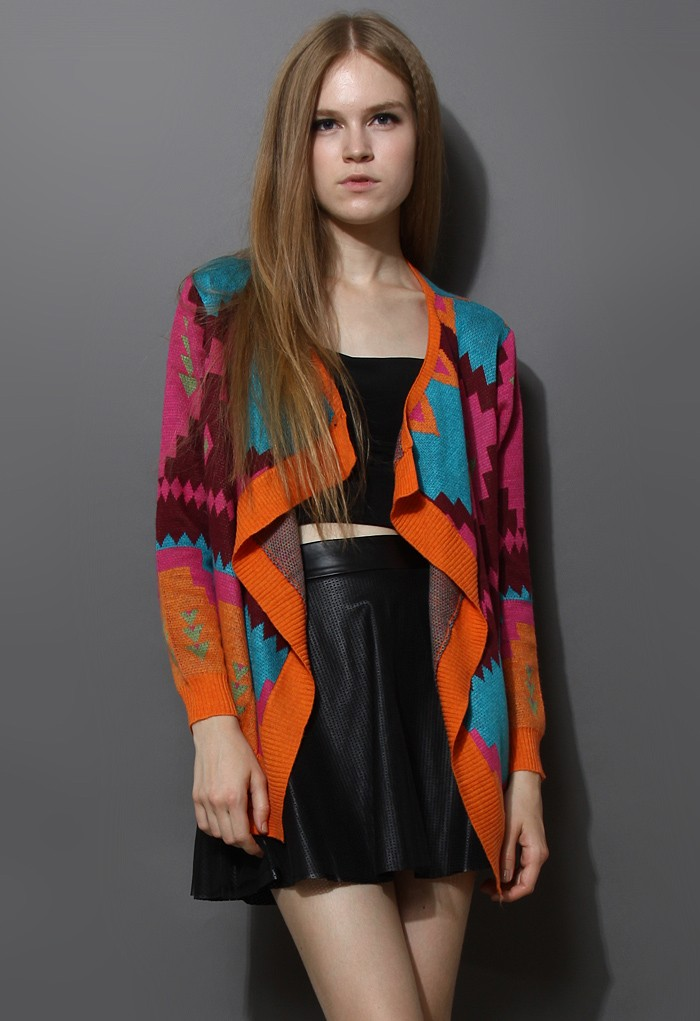 Neon Geometric Knit Drape Cardigan - Retro, Indie and Unique Fashion