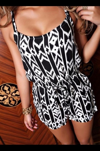 dress romper aztec patterned black white shorts black and white summer outfits shirt black & white exposure tribal print romper jumpsuit aztec romper