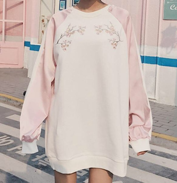 sweater embroidered girly white pink sweater dress oversized sweater oversized floral tumblr