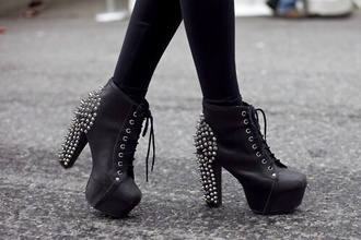 shoes jeffrey campbell jeffrey campbell lita black heels high heels spikes and studs edgy punk grunge platform lace up boots