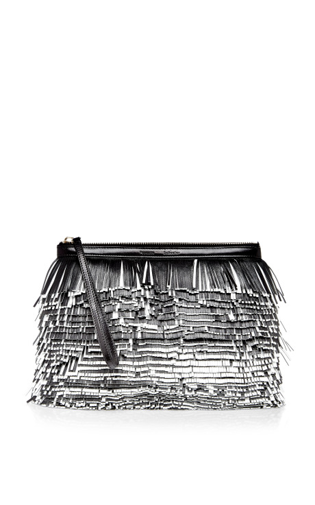 Black and white nappa leather and glycine fringe clutch by proenza schouler