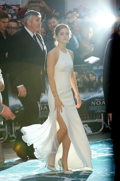 white dress emma watson long dress slit dress halter neck dress dress