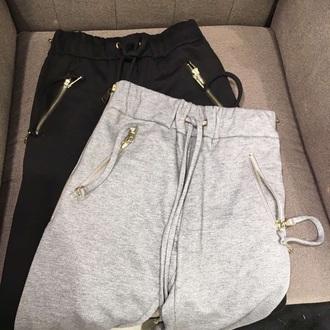 pants grey black sportswear running gray pants jogging suit sweatpants fashion outfit