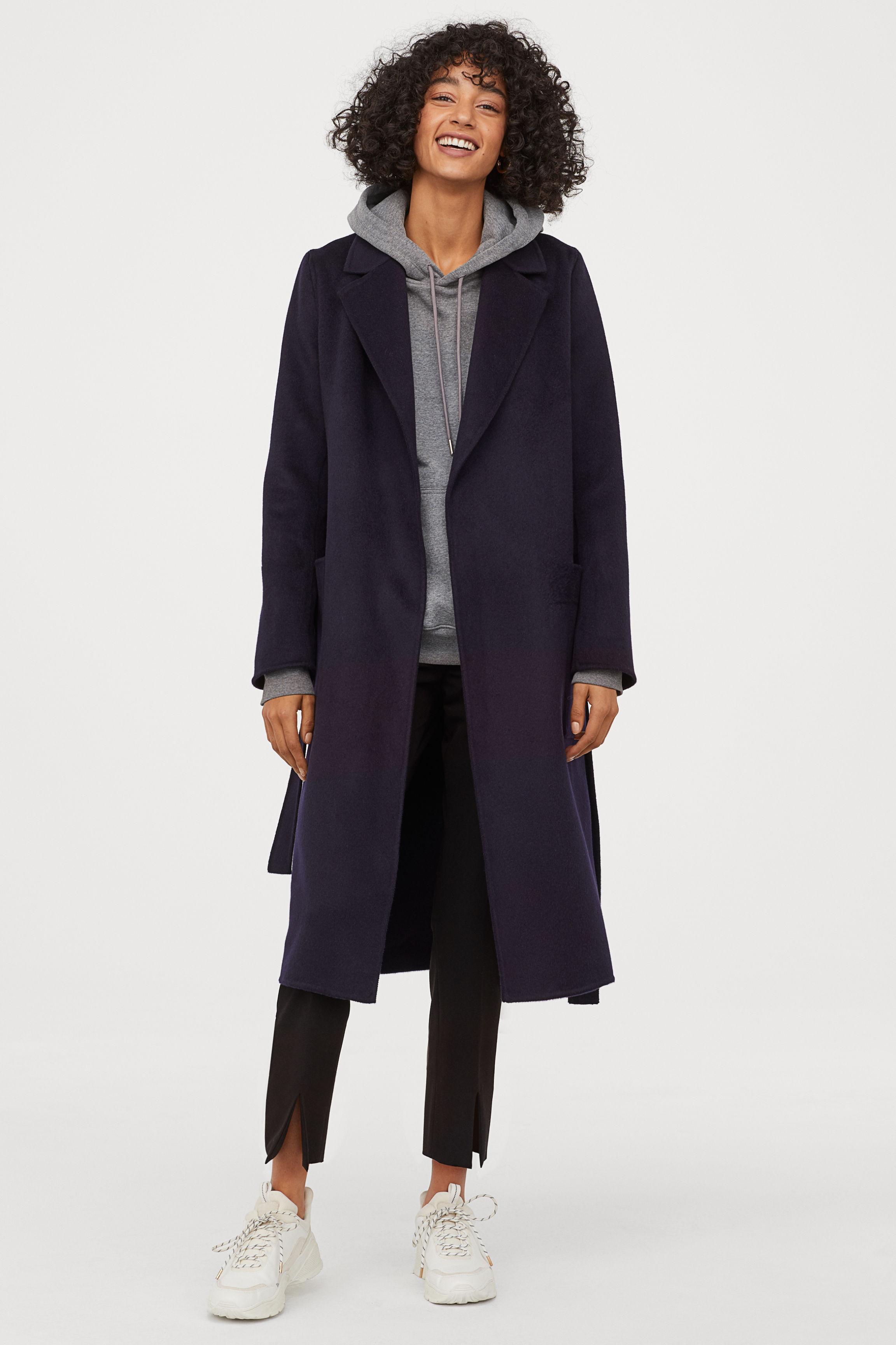 Cashmere-blend coat - Grey marl - Ladies | H&M GB