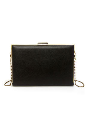 Cute Black Clutch - Box Clutch - Black Purse - $44.00