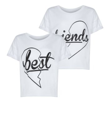 Teens 2 Pack White Best Friends Crop Top
