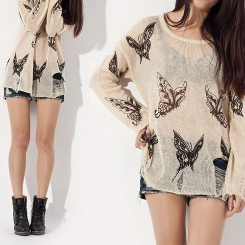 [grhmf260002081]Punk Style Loose Fitting Frayed Butterfly Print Shirt