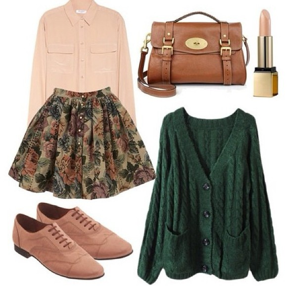 skirt floral skirt blouse knitted cardigan flats crossbody bag bag light leather purse, leather purse purse