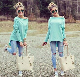 sweater clothes green mint green sweater jeans ripped jeans bracelets bag white shoes beige shoes jewels