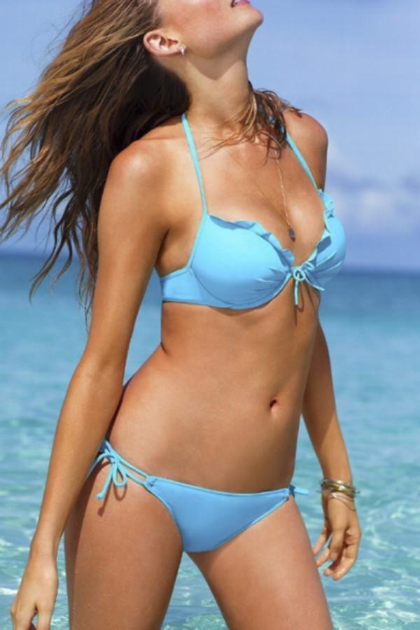 swimwear beautiful halo blue pastel bikini sexy fashion trendy style summer