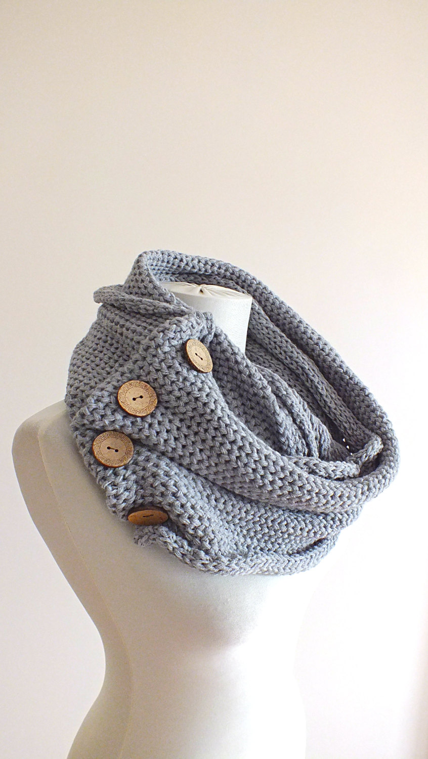 Knit button infinity scarf chunky knitted neck warner winter scarfs womens fashion scarf birthday gifts for her teens ladies