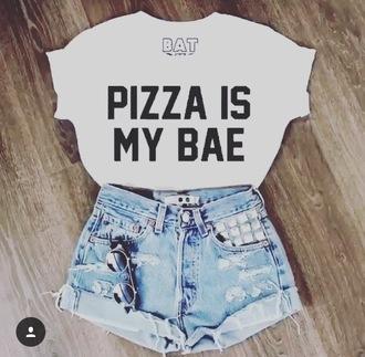 shirt pizza t-shirt ripped shorts white t-shirt bae summer outfits