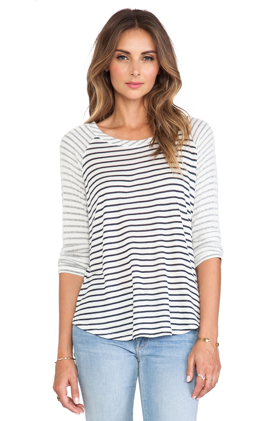 Splendid Montrose Stripe Long Sleeve Tee in Navy from REVOLVEclothing.com