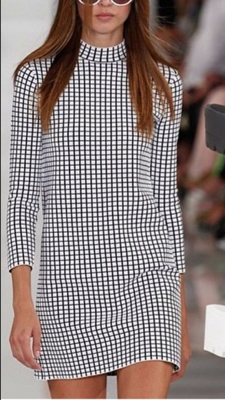 dress shift celebrity style checkered stripes