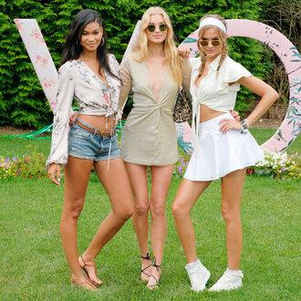dress chanel iman mini skirt josephine skriver model white skirt summer dress summer outfits top elsa hosk plunge dress crop tops denim shorts