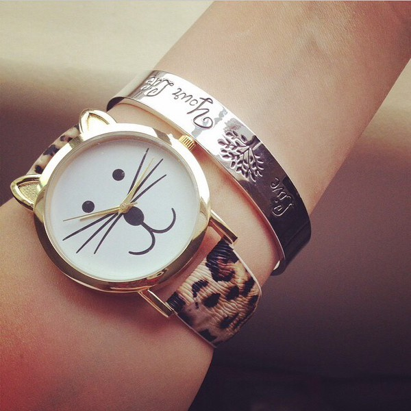 jewels watch cats cat eye cat ears cat face cute funny gold leopard print leopard print bracelets